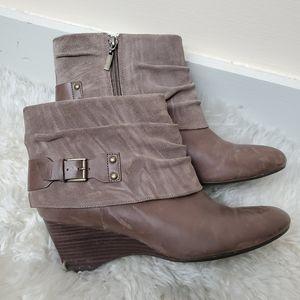 Clark's Leather Wedge Booties, 10